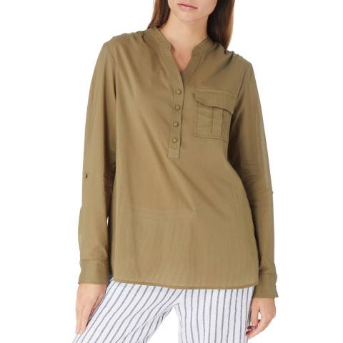 Laycuna London Khaki Collarless Half Button Placket Shirt