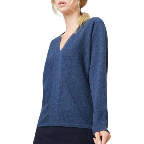 Rodier Blue Slate Cashmere Relaxed Fit V- Neck Jumper