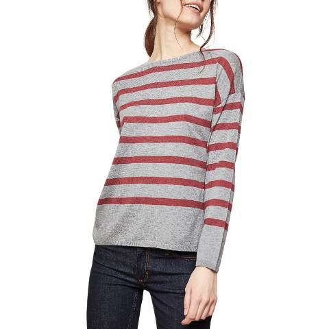 Rodier Light Grey Stripe Wool and Cashmere Blend Jumper