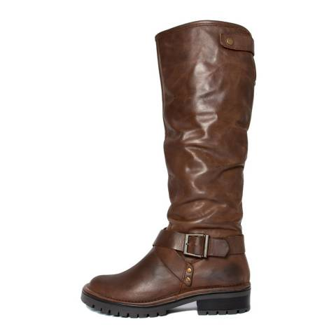Gusto Brown Leather Sigaro Chunky Heel Long Boots
