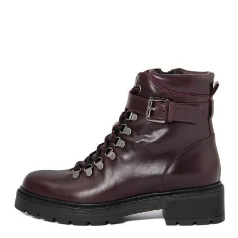 Gusto Burgundy Leather Jocker Chunky Heel Boots
