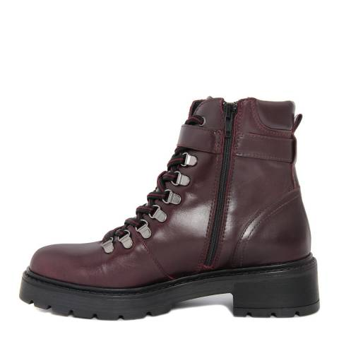 Gusto Burgundy Leather Jocker Chunky Heel Boots
