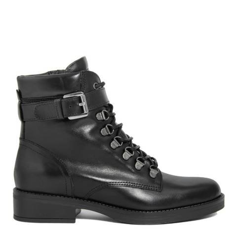 Gusto Black Leather Royal Lace Up Ankle Boots