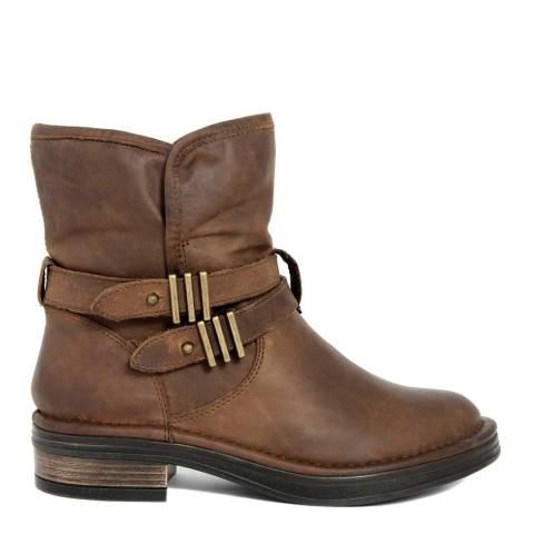 Gusto Brown Leather Train Buckle Ankle Boots