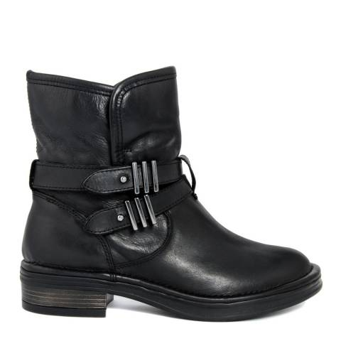 Gusto Black Leather Train Tantra Buckle Ankle Boots