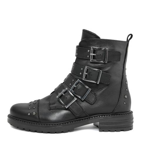 Gusto Black Leather Tantra Buckle Biker Ankle Boots