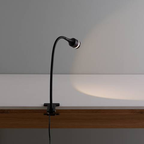Habitat Black LED Metal Clamp Desk Lamp
