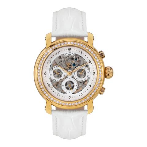 Andre Belfort Women's White / Gold Leather Strap Watch 39mm