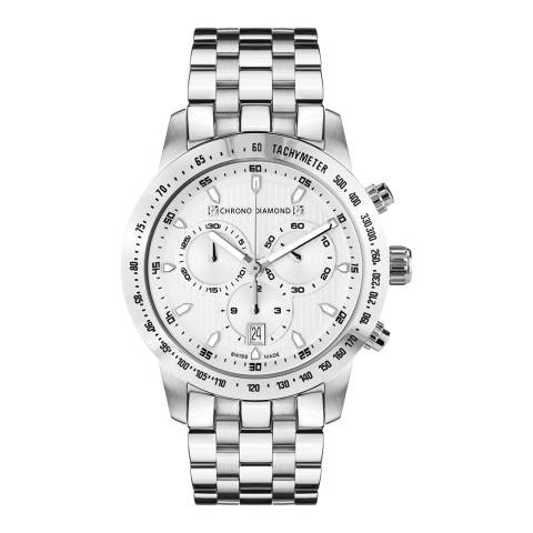 Chrono Diamond Men's Silver Chronograph Theseus Watch 43mm