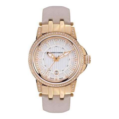Chrono Diamond Women's Beige / Gold Leather Dionne Watch 43mm