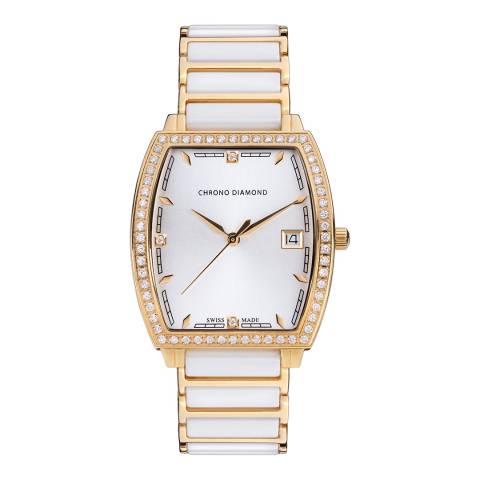 Chrono Diamond Women's White / Gold Ceramic Leandra Watch 32mm