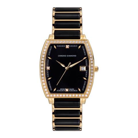Chrono Diamond Women's Black / Gold Ceramic Leandra Watch 32mm