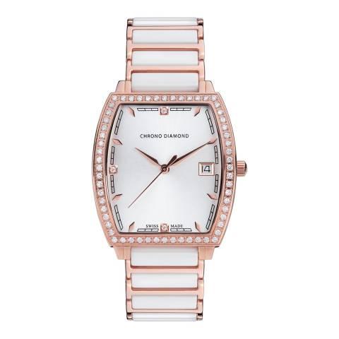 Chrono Diamond Women's White / Rose Gold Ceramic Leandra Watch 32mm