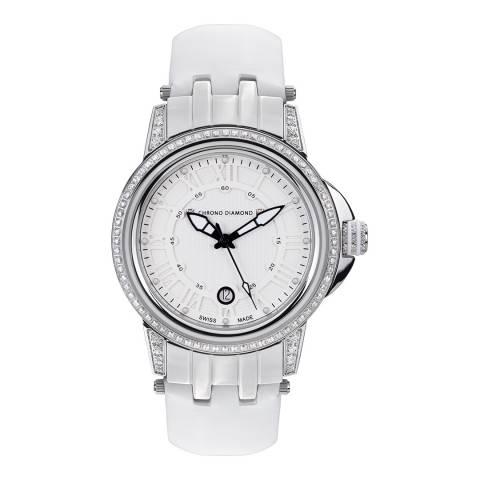 Chrono Diamond Women's White / Silver Leather Dionne Watch 43mm