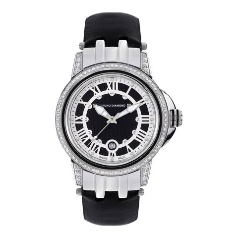 Chrono Diamond Women's Black / Silver Leather Dionne Watch 43mm