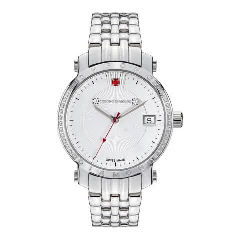 Chrono Diamond Women's Silver Red Stone Nesta Watch 35mm