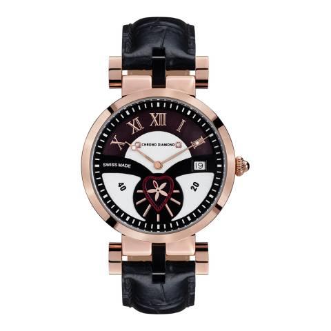 Chrono Diamond Women's Black / Rose Gold Leather Watch 38mm