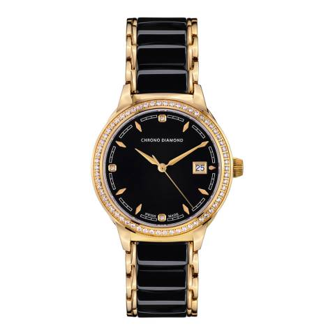 Chrono Diamond Women's Black / Gold Ceramic Thyrsa Watch 34mm