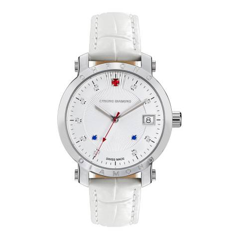 Chrono Diamond Women's White Leather Red Stone Watch 43mm