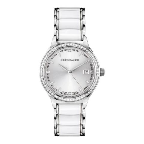 Chrono Diamond Women's White / Silver Ceramic Thyrsa Watch 34mm