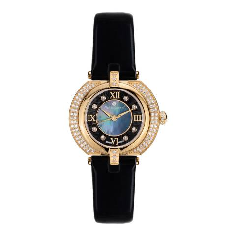 Mathieu Legrand Women's Black / Gold Leather CZ Bezel Watch 28mm