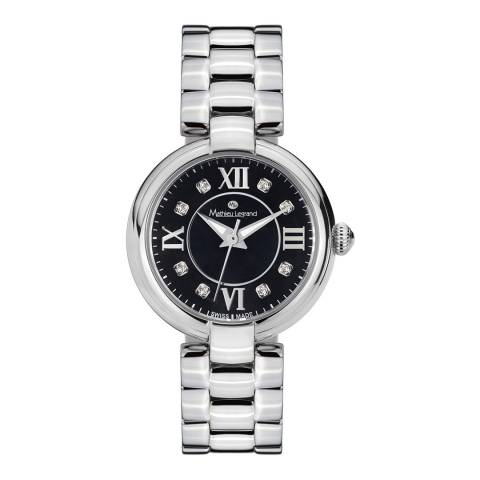 Mathieu Legrand Women's Silver / Black Zirconia Watch 28mm