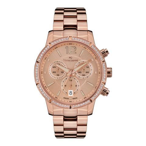 Mathieu Legrand Women's Rose Gold Zirconia Chronograph Watch 38mm