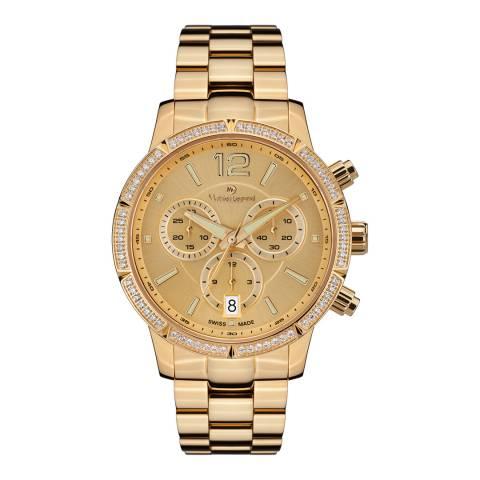 Mathieu Legrand Women's Gold Zirconia Chronograph Watch 38mm
