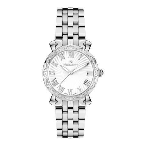 Mathieu Legrand Women's Silver Zirconia Crystal Bezel Watch 30mm
