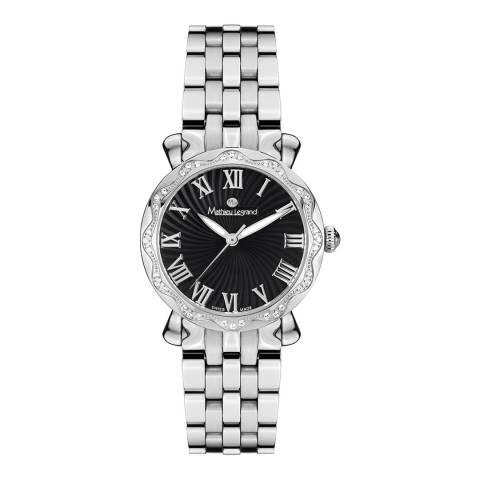Mathieu Legrand Women's Silver/ Black Zirconia Crystal Bezel Watch 30mm