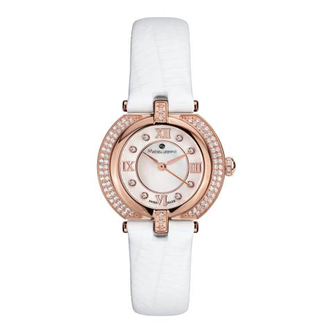 Mathieu Legrand Women's White / Rose Gold Crystal Leather Watch 28mm