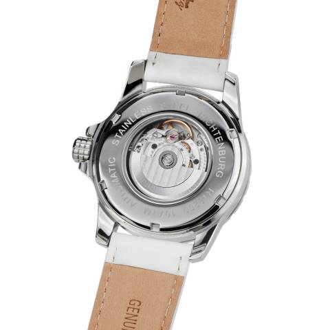 Richtenburg Women's White / Silver CZ Leather Strap Watch 42mm