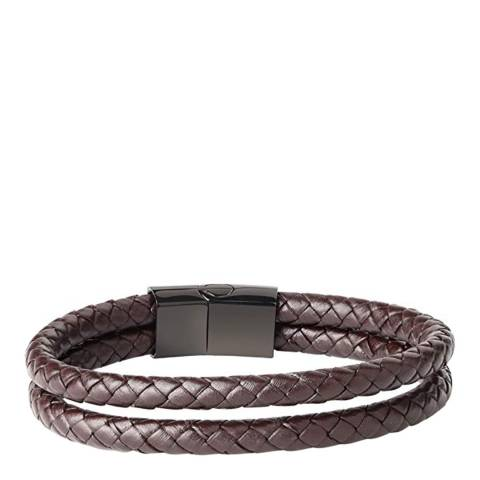 Stephen Oliver Brown Double Layer Leather Bracelet