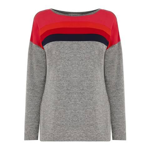 Oasis Grey/Multi Colourblock Casual Knit Top