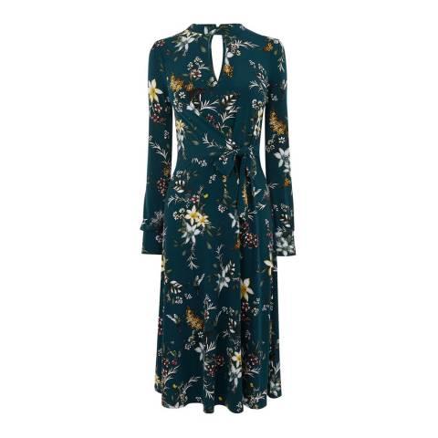 Oasis Teal Jasmine Tie Side Dress