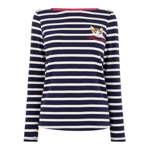 Oasis Navy/Off White Purrrfect Stripe Cotton Top