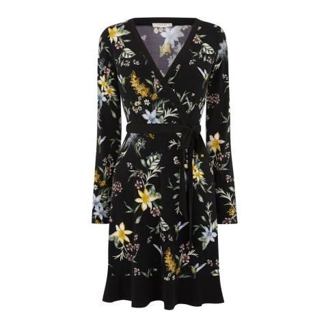 Oasis Black/Multi Jasmine Crepe Wrap Dress