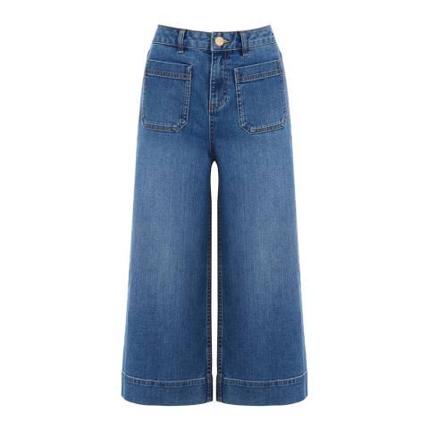 Oasis Mid Blue Lydia Cotton Stretch Wide Leg Jeans