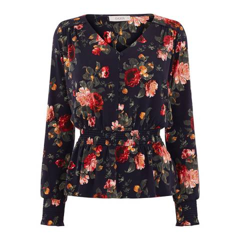 Oasis Navy/Multi Winter Rose Sheared Top