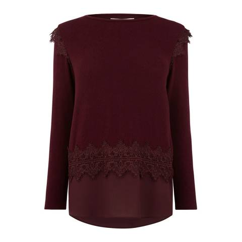 Oasis Burgundy Lace Insert Cut Top