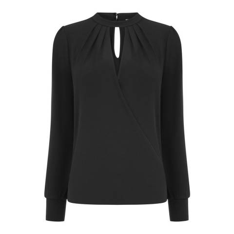 Oasis Black Plain Wrap Choker Blouse