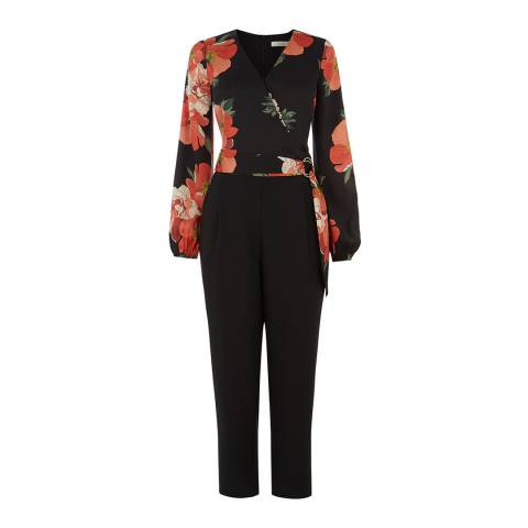 Oasis Black/Red Bold Bloom D Ring Jumpsuit