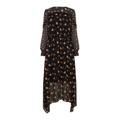 Oasis Black Frieda Floral Midi Dress