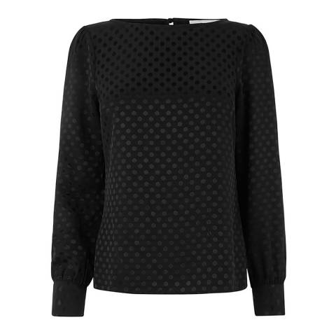 Oasis Black Spot Jacquard Top
