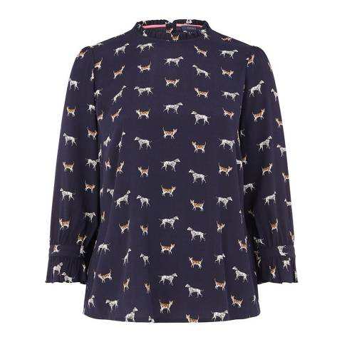 Oasis Midnight Cat And Dog Print Top