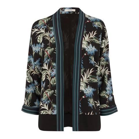 Oasis Black/Blue Winter Jasmine Kimono