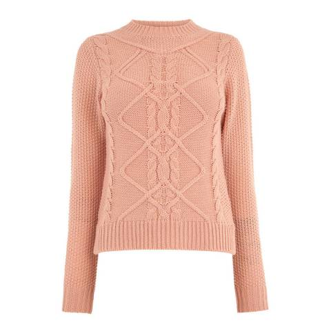 Oasis Pale Pink Nyla Cable Knit Jumper