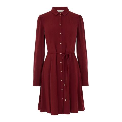 Oasis Burgundy Button Skater Dress