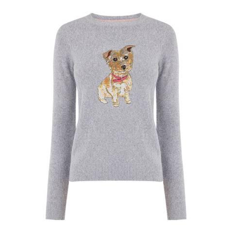 Oasis Mid Grey Bailey Sequin Dog Jumper