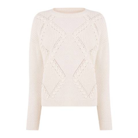 Oasis Off White Bobble Stitch Cable Jumper